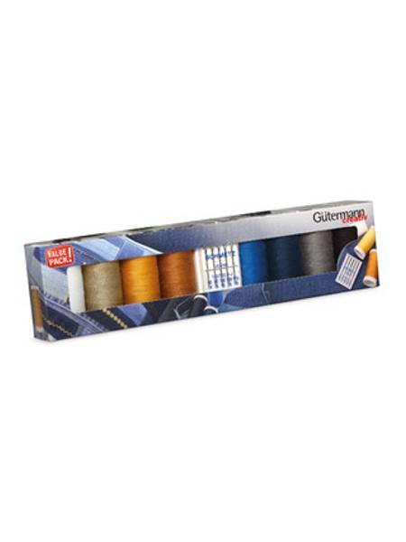 Bilde av Gütermann trådpakke Denim - 8* trådsneller + jeansnåler