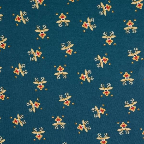 Bilde av Bomullsjersey - 3 cm rensdyr-hode på mørkblå