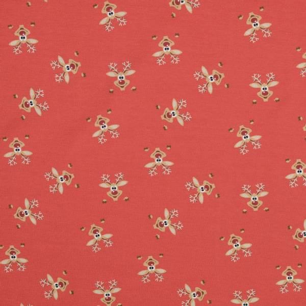 Bilde av Bomullsjersey - 3 cm rensdyr-hode på rød