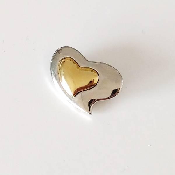 Bilde av Knapp, sølv-gull hjerte, metall - 28*20 mm
