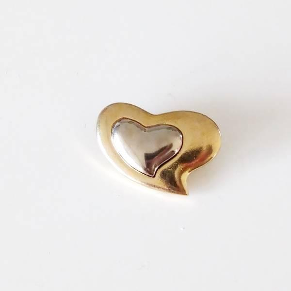 Bilde av Knapp, gull-sølv hjerte, metall - 28*20 mm