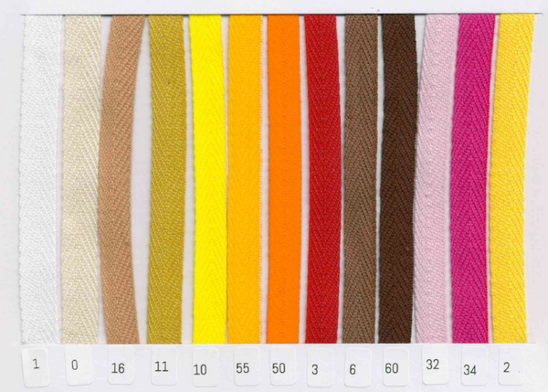 Bilde av 3,5 m Bånd vevd, sildeben, 10 mm bomull, fv. 10 sitrongul