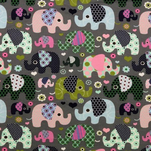 Bilde av Bomullsjersey - 3-6 cm elefanter på mørkgrå