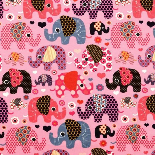 Bilde av Bomullsjersey - 3-6 cm elefanter på rosa