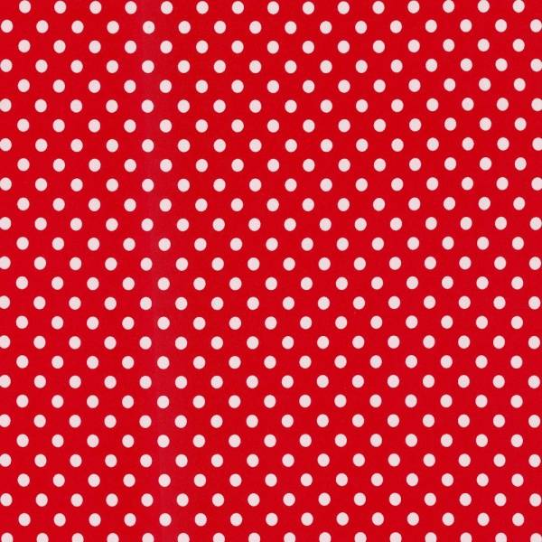 Bilde av 1 m Bomullsjersey, 1 cm hvite prikker på rød