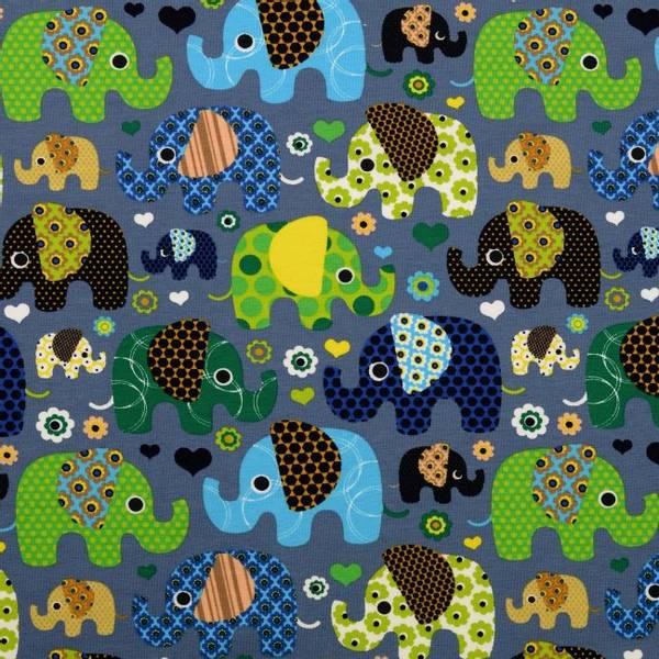 Bilde av Bomullsjersey - 3-6 cm elefanter på jeansblå