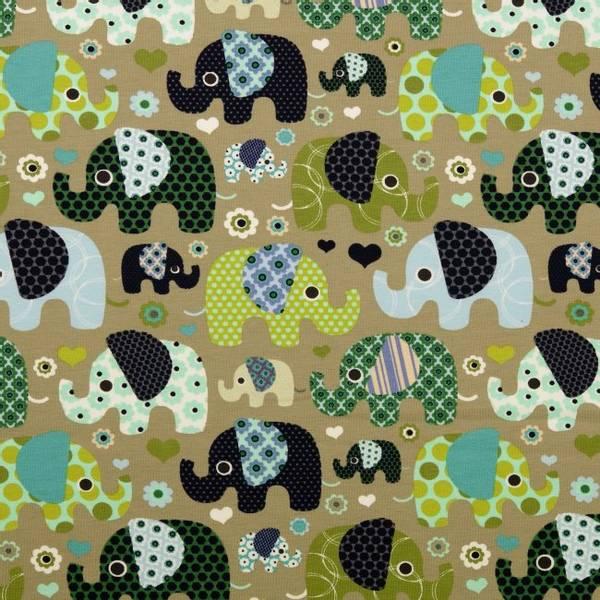 Bilde av Bomullsjersey - 3-6 cm elefanter på lys oliven