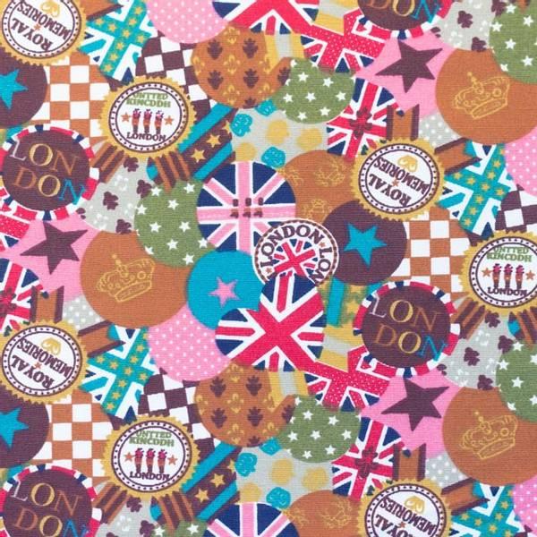 Bilde av Kanvas - London - 4 cm badges, brun-rosa