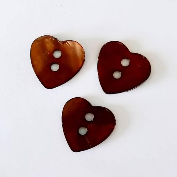 Bilde av Knapp, perlemor-hjerte, 17 mm - brun