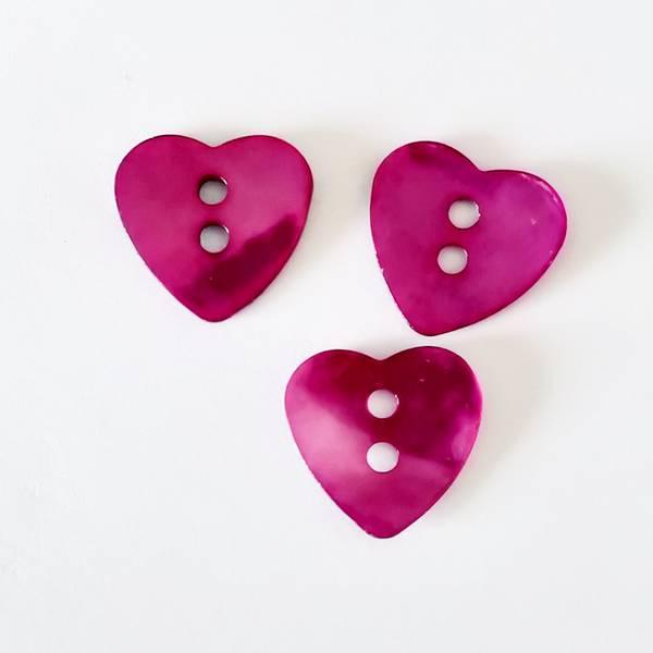Bilde av Knapp, perlemor-hjerte, 17 mm - cerise