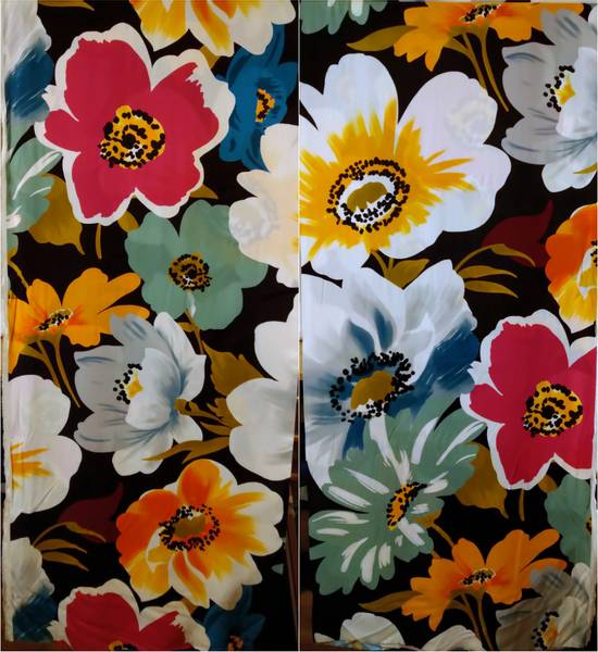 Bilde av Vevd viskose - flerfargete stormønstrete blomster