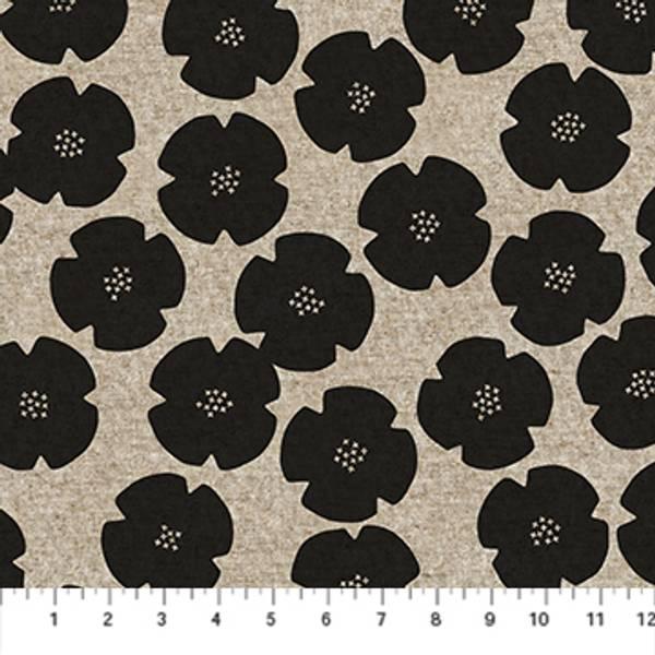 Bilde av Harmony, lin-bomull - 6 cm sorte blomster