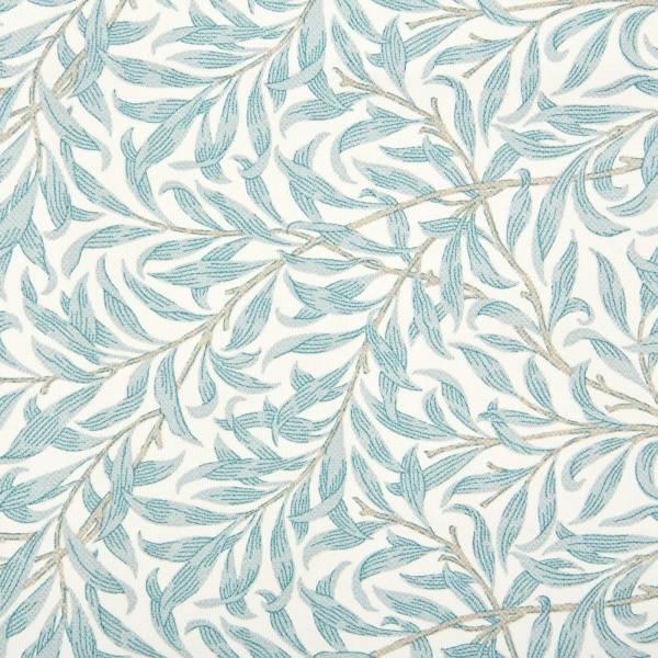 Bilde av 1,3 m Ramas - 3-4 cm lys petrol bladmønster på offwhite