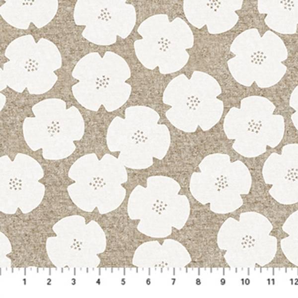 Bilde av Harmony, lin-bomull - 6 cm hvite blomster