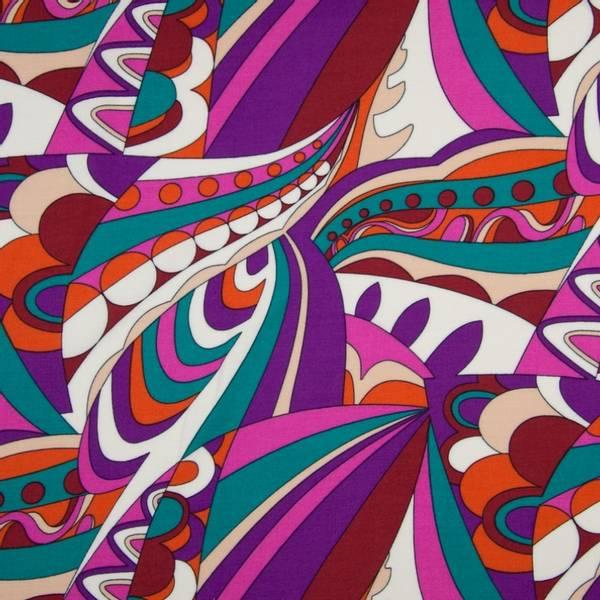 Bilde av Vevd viskose chally - lilla stormønstret retro