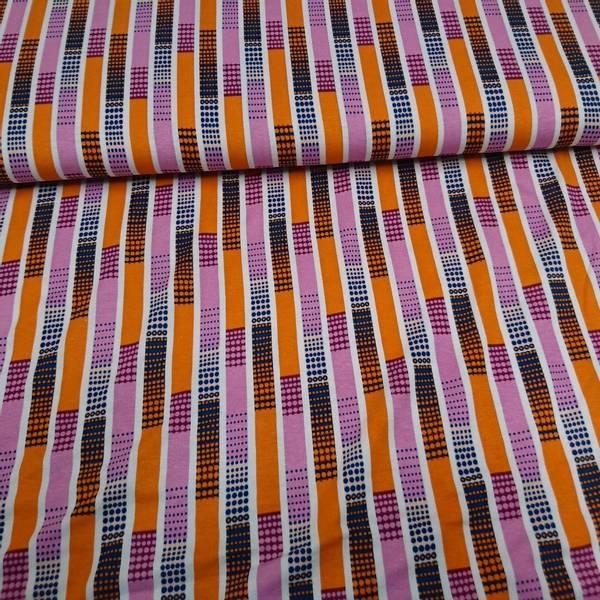 Bilde av 1 m Viskosejersey, 15 mm striper i rosa - oransje