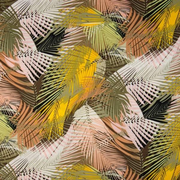 Bilde av Vevd viskose chally - store palmblader gul-oliven-rosa
