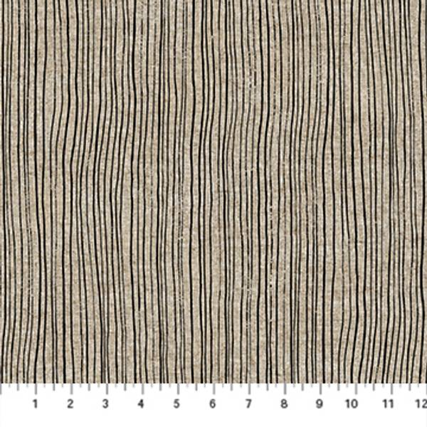 Bilde av Harmony, lin-bomull - 1 mm sorte striper