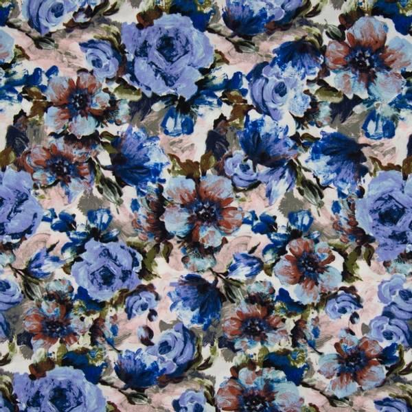 Bilde av Vevd viskose chally - 3-8 cm blå blomster