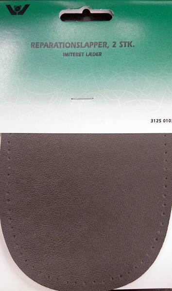 Bilde av Reparaturlapper oval - imitert skinn - 2 st. grå - til å sy på
