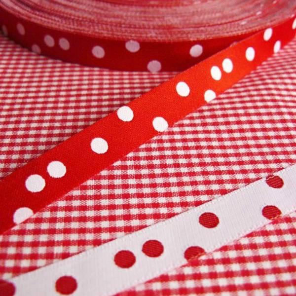 Bilde av 2,2 m Farbenmix - 10 mm bred bånd, rød med hvite 4mm prikker
