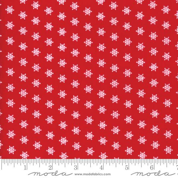 Bilde av 40 cm Merry Merry Snow Days - 1 cm hvite stjerner på rød