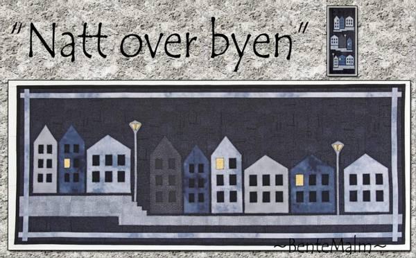 Bilde av Bente Malm 108 - Natt over byen - løper/ veggteppe