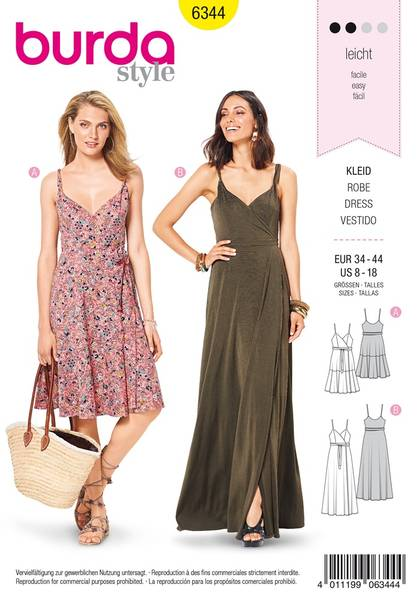 Bilde av 6344- Burda - kjole m stropper, medium/lang