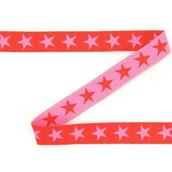 Bilde av 2,9 m Farbenmix - 7 mm bred bånd, rød-rosa med stjerner
