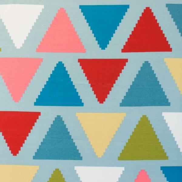 Bilde av Kanvas - 15 cm aztek-trekanter på lysblå