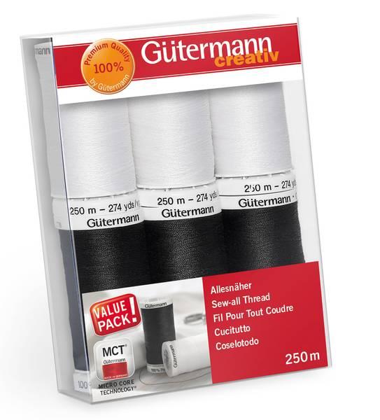 Bilde av Trådpakke - 6 st Sew All sytråd 250 m - sort/hvit