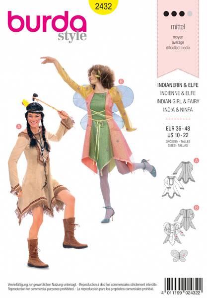 Bilde av 2432 - Burda - kostymer, indianer & fe
