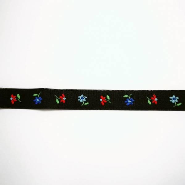 Bilde av 3 m Antrasitt pyntebånd med små blomster, 10mm bred