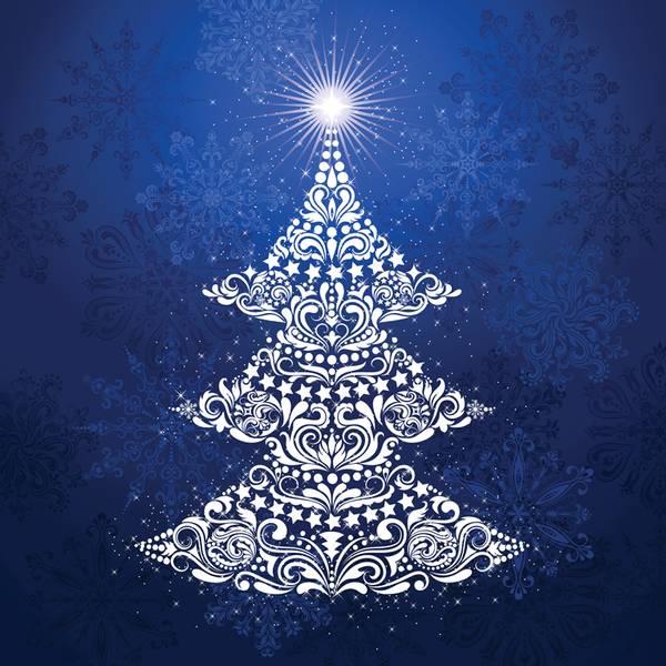 Bilde av Gradients Holiday - Panel 150*150 cm - Juletre blå-hvit