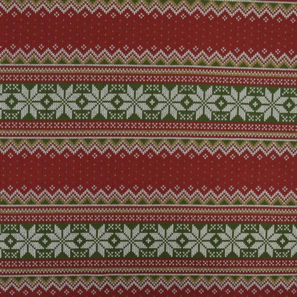 Bilde av French Terry - strikkemønster rødgrønn, 5 cm rader