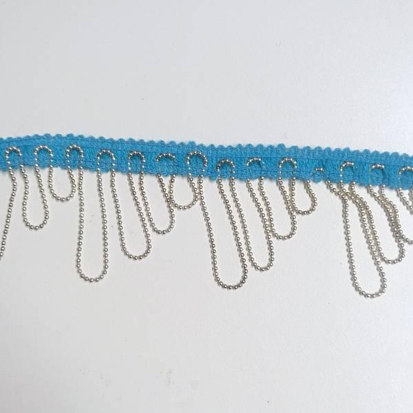 Bilde av 2,5 m Turkis 1cm strikk med metallkjetting, maks 4 cm bredde