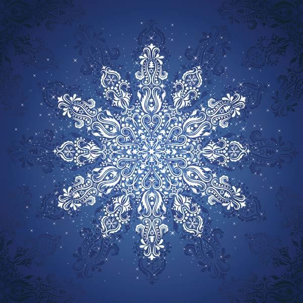 Bilde av Gradients Holiday - Panel 150*150 cm - snøfnugg blå-hvit