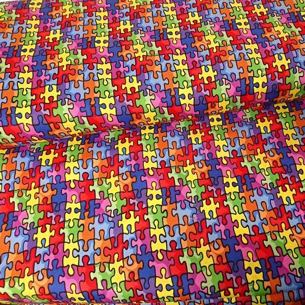 Bilde av Puzzlebrikker - flerfarget, ca 2*2,5 cm - autism awareness