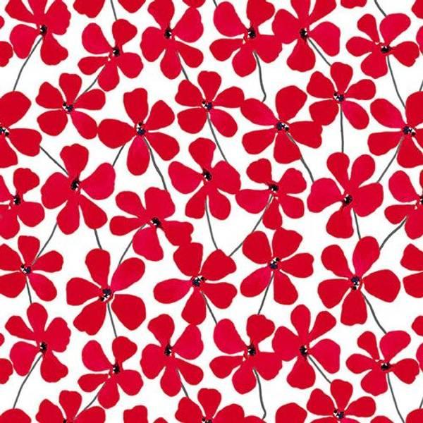 Bilde av Red Alert - 3 cm røde blomster på hvit