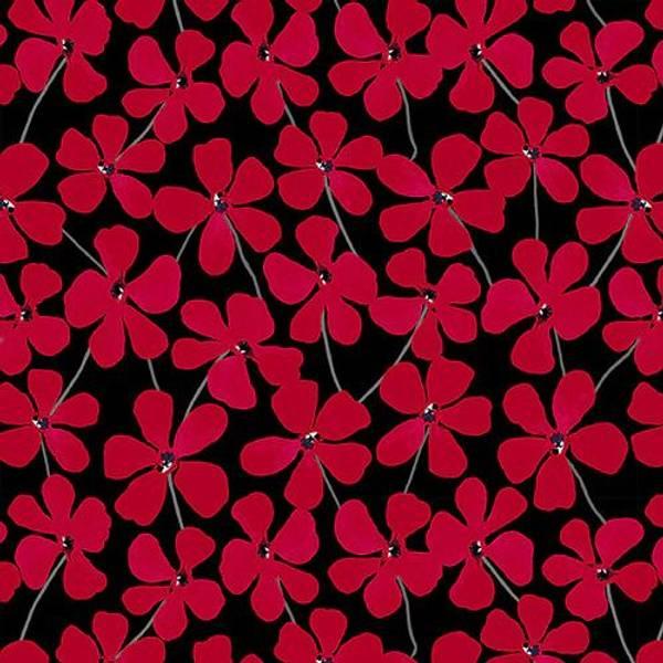 Bilde av Red Alert - 3 cm røde blomster på sort