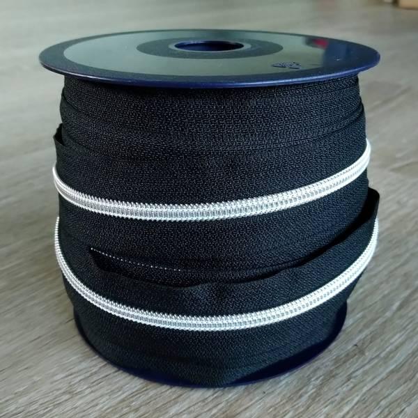 Bilde av Spiralglidelås - 6 mm metervare - sort-sølv