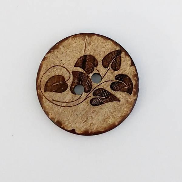 Bilde av Knapp, kokos, preget blader - 34 mm