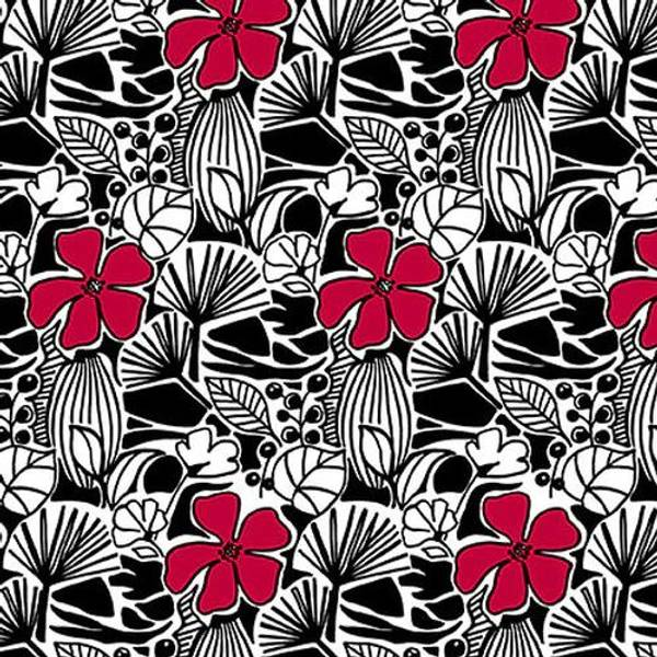 Bilde av Red Alert - 2,5 cm blomster på sort-hvit