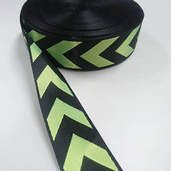Bilde av Glansete polyesterbånd, 38 mm, piler - neongrønn-sort