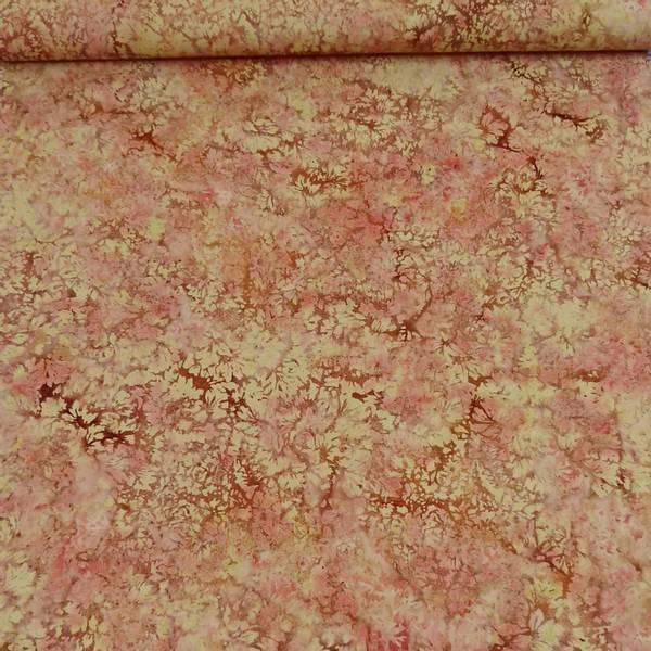 Bilde av Batikk - beige-brun-lys rød bladmønstret