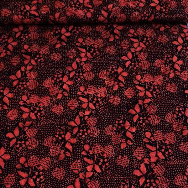 Bilde av Batikk - 3 cm røde jordbær på sort