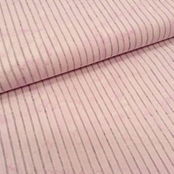 Bilde av Poplin - Lysgrå 2 mm striper på lysrosa