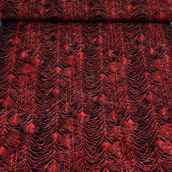 Bilde av Batikk - 7 cm bred rødt gress på sort