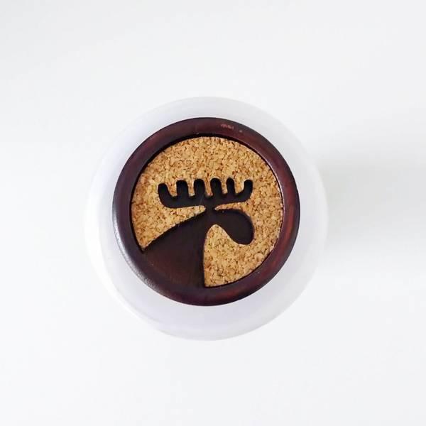 Bilde av Elg-knapp, 28 mm, tre & kork - brun