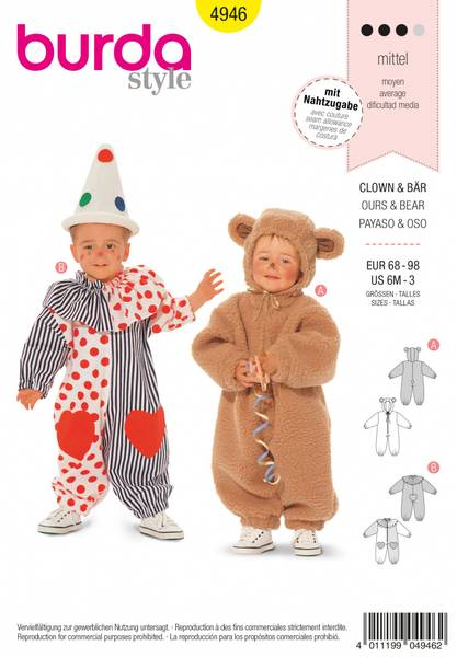 Bilde av 4946 - Burda - kostyme, klovn & bjørn
